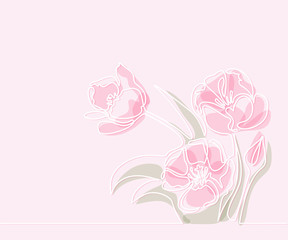 Beautiful soft color pink tulips flowers. Continuous line drawing. Vector illustration