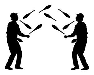 Jugglers artist vector, Juggling with pins silhouette. Clowns in circus jugging performs skill.