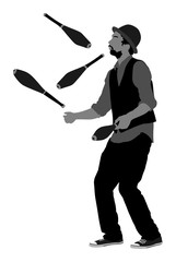 Juggler artist vector, Juggling with pins silhouette. Clown in circus jugging performs skill.