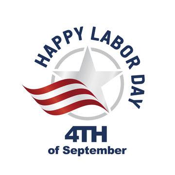 Happy Labor Day USA logo star ribbon white background