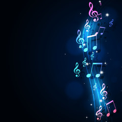 Funky Music Notes Blue Background