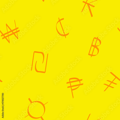 Seamless pattern with world currency symbols for your design