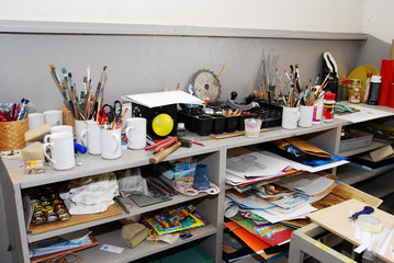 Various art supplies in a studio