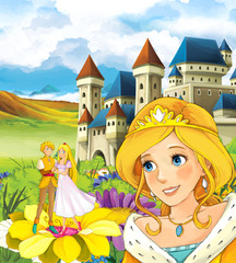 Cartoon fairy tale scene with elf royal couple on the flower other normal size princess is watching - illustration for the children