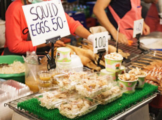 Thailand street food squid eggs