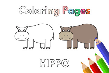 Cartoon Hippo Coloring Book