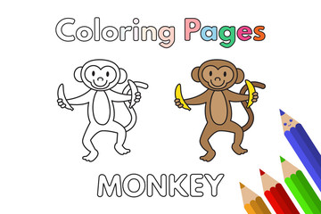 Cartoon Monkey Coloring Book