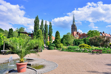 Botanical garden of Wroclaw. View of the cathedral.