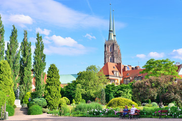 WROCLAW, POLAND - JUNE, 2017: Botanical garden of Wroclaw. View of the cathedral.