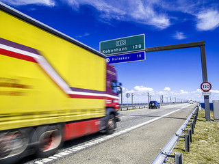 Autobahn Richtung Kopenhagen, Dänemark, Seeland