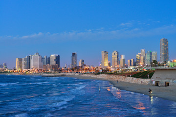 TEL AVIV, ISRAEL- APRIL, 2017: Evening view of the skyscrapers of Tel Aviv from the Mediterranean Sea.