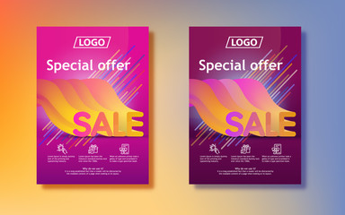 Big seasonal sale. Sale in 3d with a gradient. Abstract colored gradients background. Vertical poster design for print or web, media, promotional material. Final sale poster or flyer design.