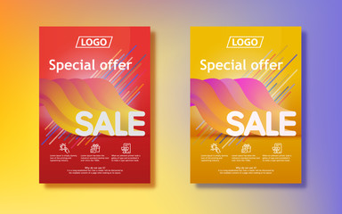 Sale template banner in bright colors. Big seasonal sale. Sale in 3d with a gradient. Abstract colored gradients background. Vertical poster design for print or web, media, promotional material.