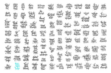set of 100 hand lettering positive quotes about unicorn, mermaid