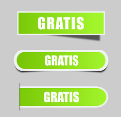 "Different square stickers with word ""Gratis"". Gratis label. Vector stock."