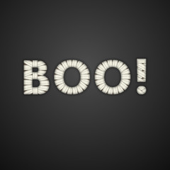 Boo Text. Mummy Bandage Font. Halloween Greeting Card. Vector.