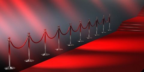 Silver rope barriers and Red carpet isolated on black background 3D illustration