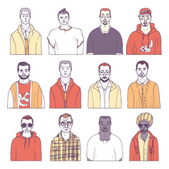 set of hand drawn boys. male vector avatar
