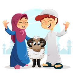 Happy Muslim Boy and Girl with Sheep