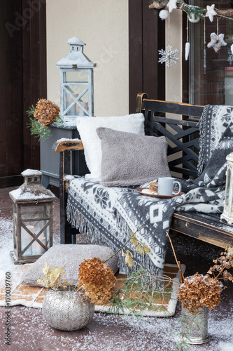 Vintage Blanket On Wooden Bench With Pillows Candlesticks Cup Of Amazing How To Decorate A Bench With Pillows