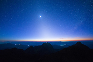 Zodiac sunset twilight and milky way with landscape view.