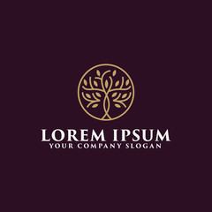 luxury tree logo design concept template