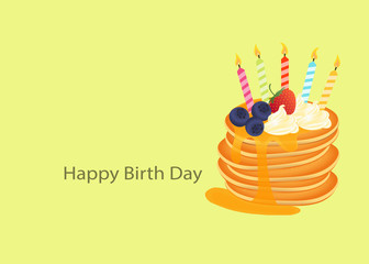 Happy Birth Day pancake with blueberry strawberry cream and candle on yellow green background vector illustration.