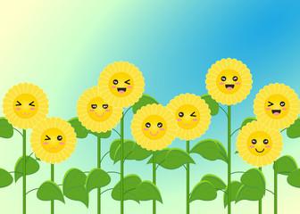 Sunflowers field on sunlight and blue sky. summer season. cartoon smile nature picture. vector illustration.