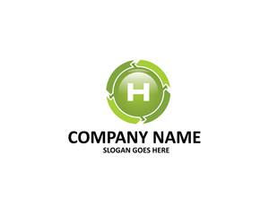 h letter circle arrow logo
