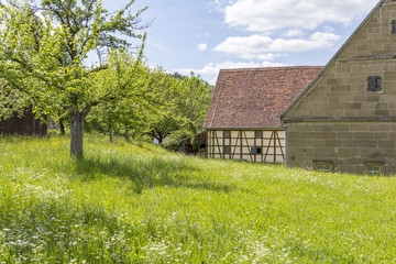 rural scenery with barn