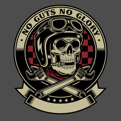 Vintage Biker Skull with Crossed Wrenches Emblem