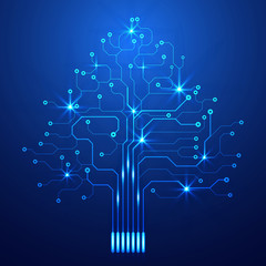 Blue Hi Technology Circuit Board Big Modern Tree Concept Vector Background