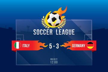 Vector of soccer league with team competition and scoreboard on field background.
