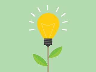 green energy alternative with light bulb and green leaf flat style