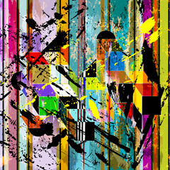 abstract geometric background composition, with squares, stripes, paint strokes and splashes