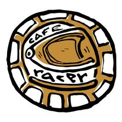 Moto biker theme, icon. Cafe racer. Golden, white