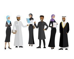 Arabic business team,cartoon business people