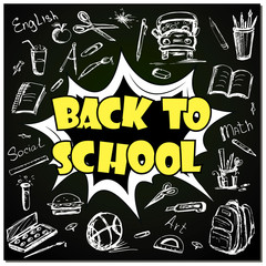 Back to school - funny pop art lettering with signs and icons