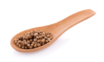 coriander seeds in spoon wooden on white background