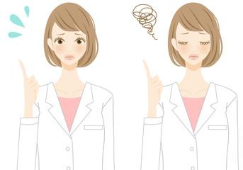 指差し 助言をする看護師 人物