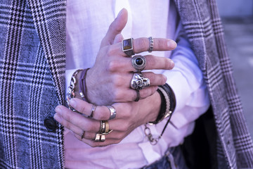 Trendy fashion accesories, man hand with rings
