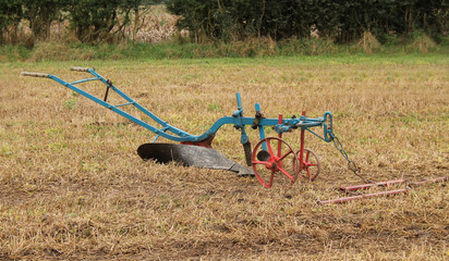 A Single Blade Hand Steered Vintage Farming Plough.