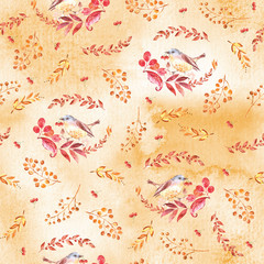 Watercolor seamless pattern with autumn leaves, branches and birds