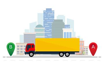 Delivery truck on city background. Vector illustration. Flat design. ESP10.