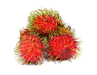 Ripe red rambutans three pices