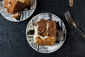 black and white Halloween slice of carrot spice cake top view