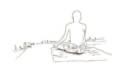Hand drawn sketch of A Hindu man sitting with a turban next to the holy Ganges river and praying in the sunrise in vector.