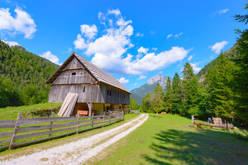Mountain farm house in European Alps, Robanov kot, Slovenia