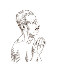 Hand drawn sketch of Man praying in Ganges Varanasi in vector.