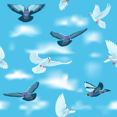 Pigeons and white doves in the sky as seamless pattern / Some pigeons and white doves flying among clouds in the sky